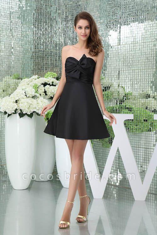 Sleek Sweetheart Satin A-line Bridesmaid Dress