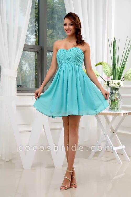 LANEY | A Type Heart-shaped Knee Length Sleeveless Chiffon Jade Green Bridesmaid Dress with Fold