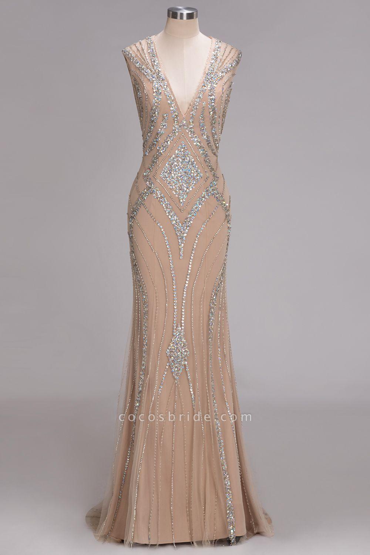 NAN | Mermaid V-neck Floor Length Sleeveless Sequins Prom Dresses