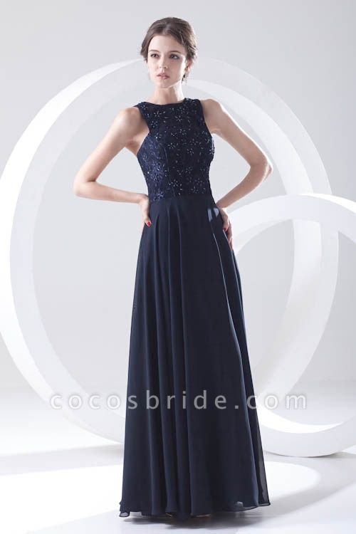 KYNLEE | A Type High Collar Chiffon Bridesmaid Dress with Beaded