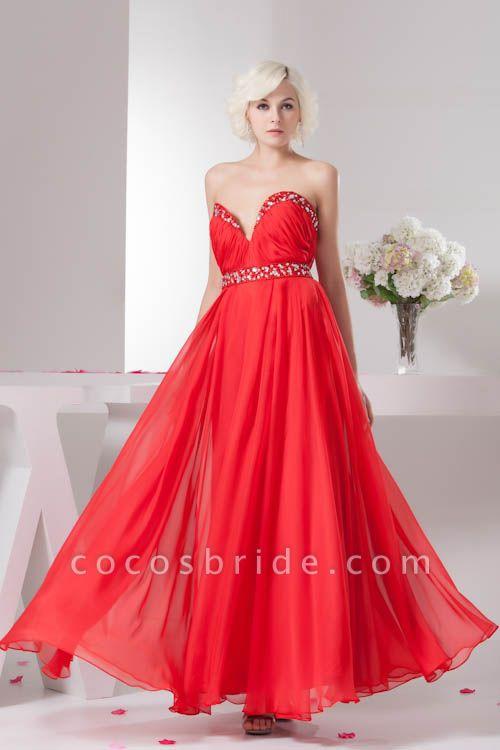 KYLA | A Type V-Neck Red Chiffon Bridesmaid Dress with Rhinestone