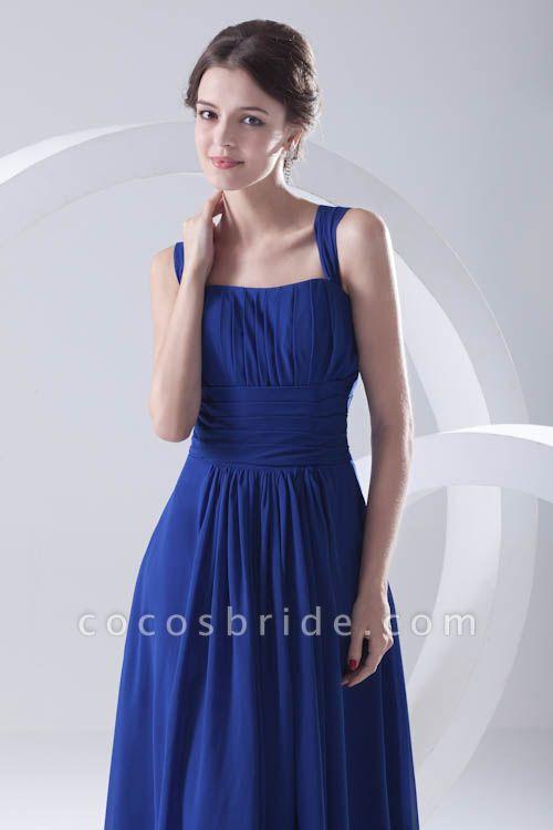 LEIGHTON | A Type A Collar Long SleevelessChiffon Royal Blue Bridesmaid Dress with Small folds