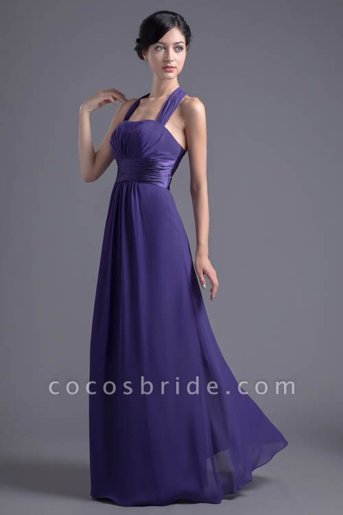 Sleek Halter Chiffon A-line Bridesmaid Dress