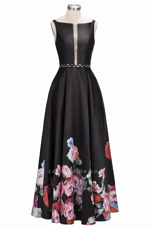 OLIVIA | A-line Floor Length Sleeveless Black Printed Flowers Prom Dresses