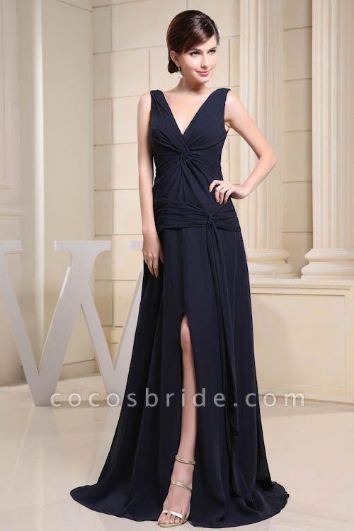 KIMORA | A Type V-Neck Chiffon Navy Blue Bridesmaid Dress with Fold