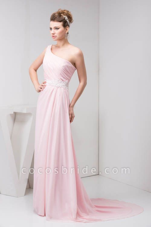 LAUREL | A Type Shoulder Drag To Long Sleeveless Chiffon Pink Bridesmaid Dress with Belt