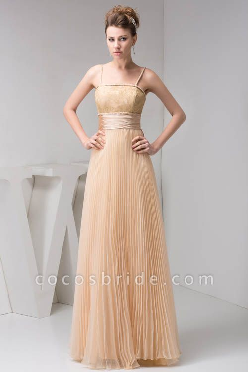 Graceful Spaghetti Straps Chiffon Princess Evening Dress