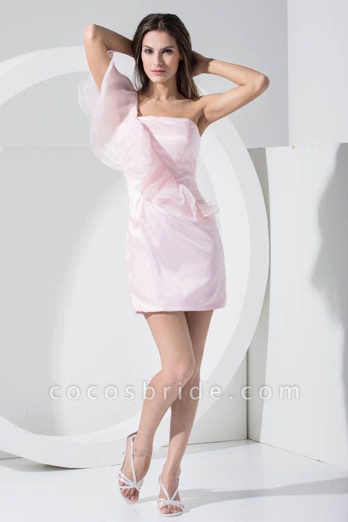 LAILA | A Type Shoulder Knee Length Sleeveless Chiffon Pink Bridesmaid Dress with Cross