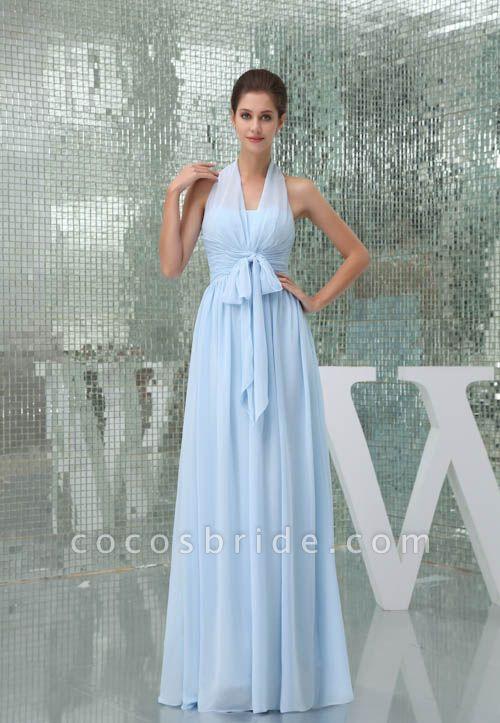 Precious Halter Chiffon A-line Bridesmaid Dress