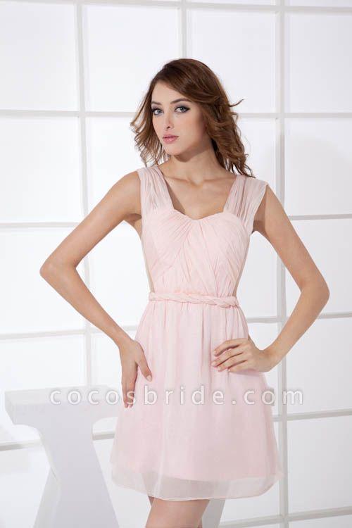 LEONA | A-line Scoop Mini Chiffon Bridesmaid Dresses