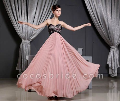 KINSLEE | A Type Heart Collar Chiffon Bridesmaid Dress with Lace
