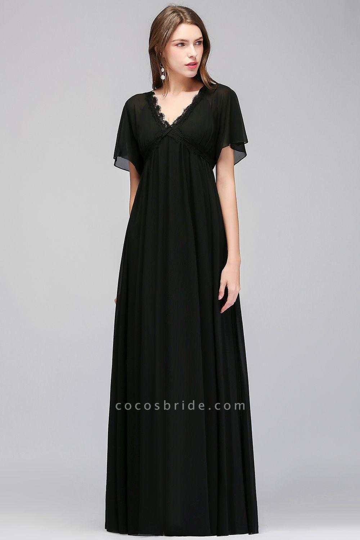 A-line Chiffon V-Neck Short-Sleeves Floor-Length Bridesmaid Dresses