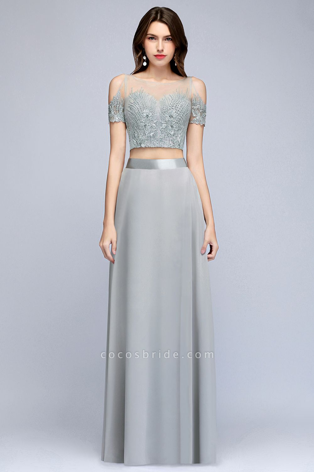Two-piece Appliqued Chiffon A-line Evening Dresses