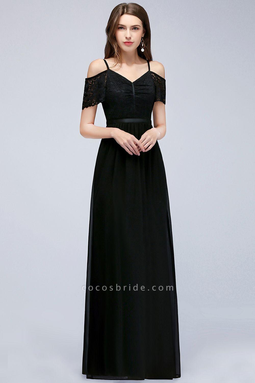 A-line Chiffon Lace V-Neck Off-the-shoulder Sleeveless Floor-Length Bridesmaid Dresses