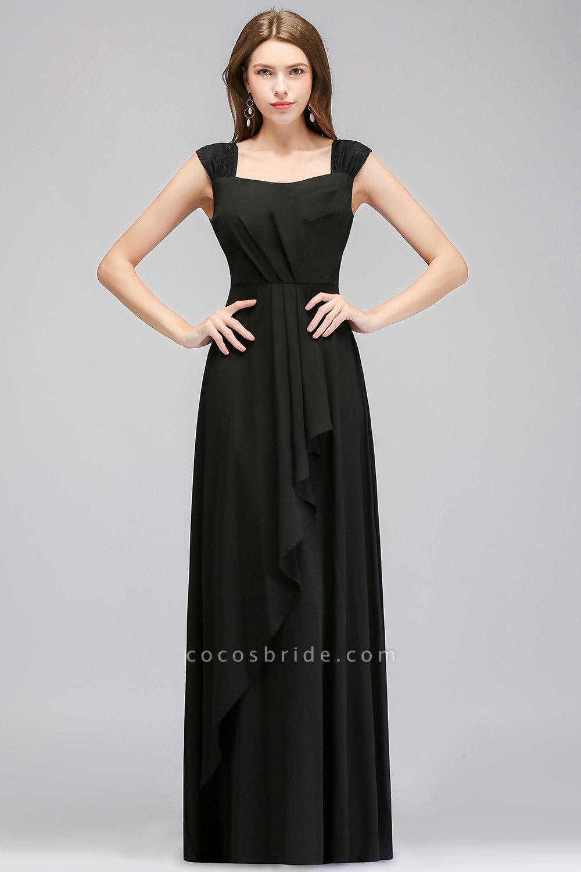 MAGDALEN | A-line Floor Length Sleeveless Ruffled Chiffon Bridesmaid Dresses