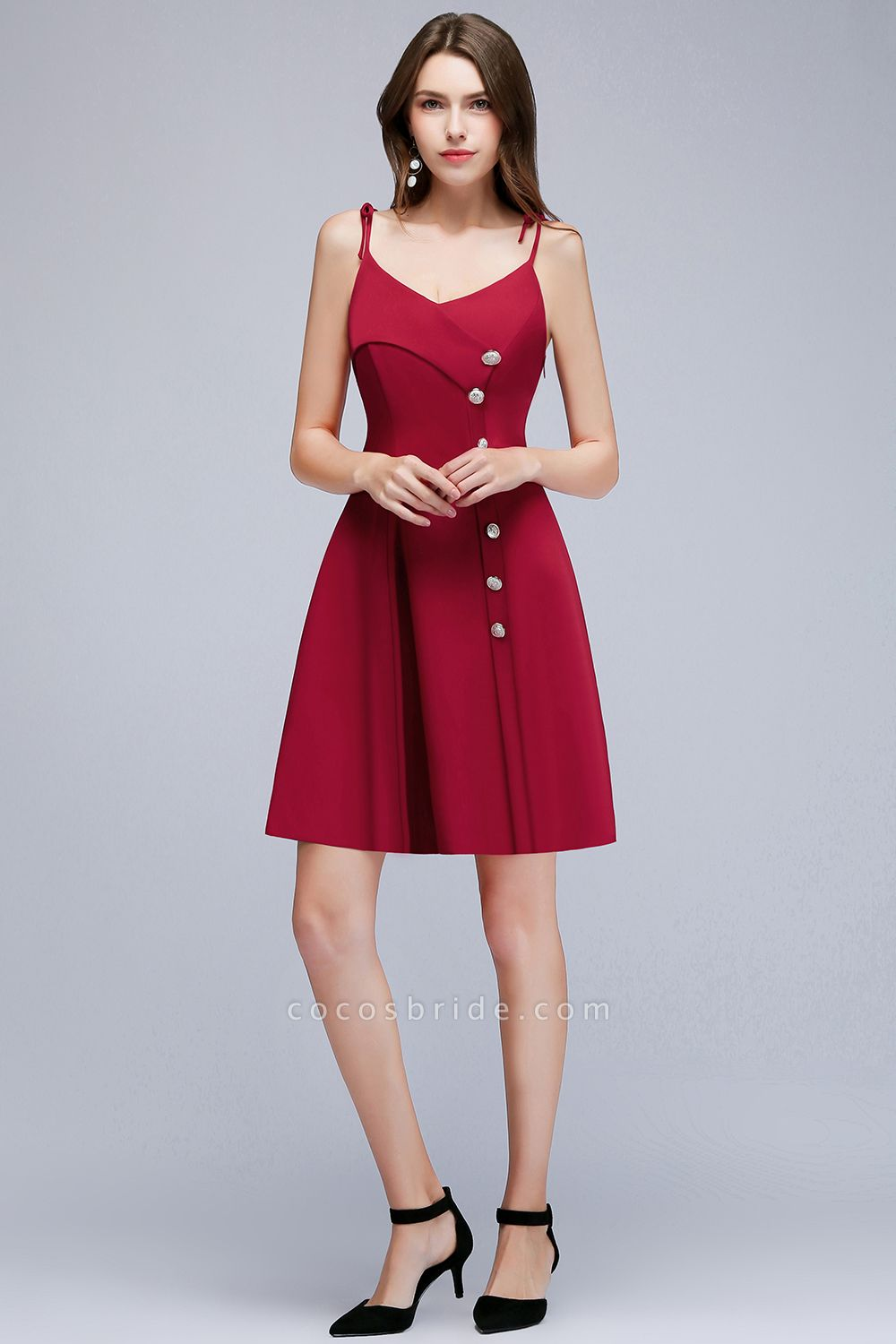 MALVINA   A-line Short V-neck Spaghetti Burgundy Homecoming Dresses with Buttons