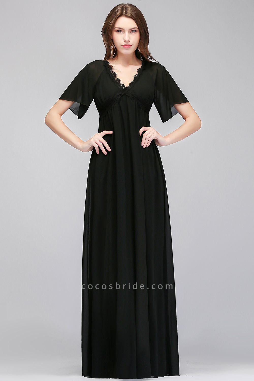 MAGDA | A-line V-neck Short Sleeves Long Black Chiffon Bridesmaid Dresses