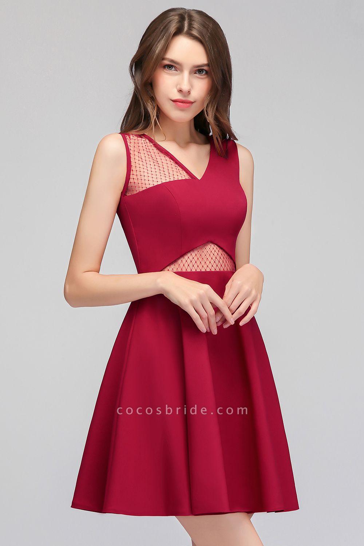 A-line Sleeveless Short V-neck Tulle Neckline Homecoming Dresses