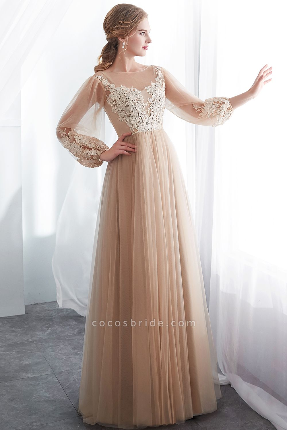 Champagne A-line Long Sleeves Appliques Tulle Evening Dresses