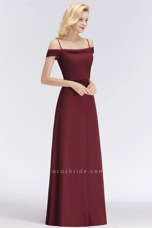 Burgundy A-line Floor Length Off-the-shoulder Bridesmaid Dresses