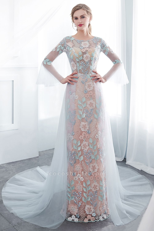 Sheath Long Sleeves Sheer Neckline Appliqued Flowers Evening Dresses