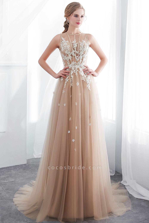Aline Sleeveless Appliqued Tulle Floor Length Evening Dresses