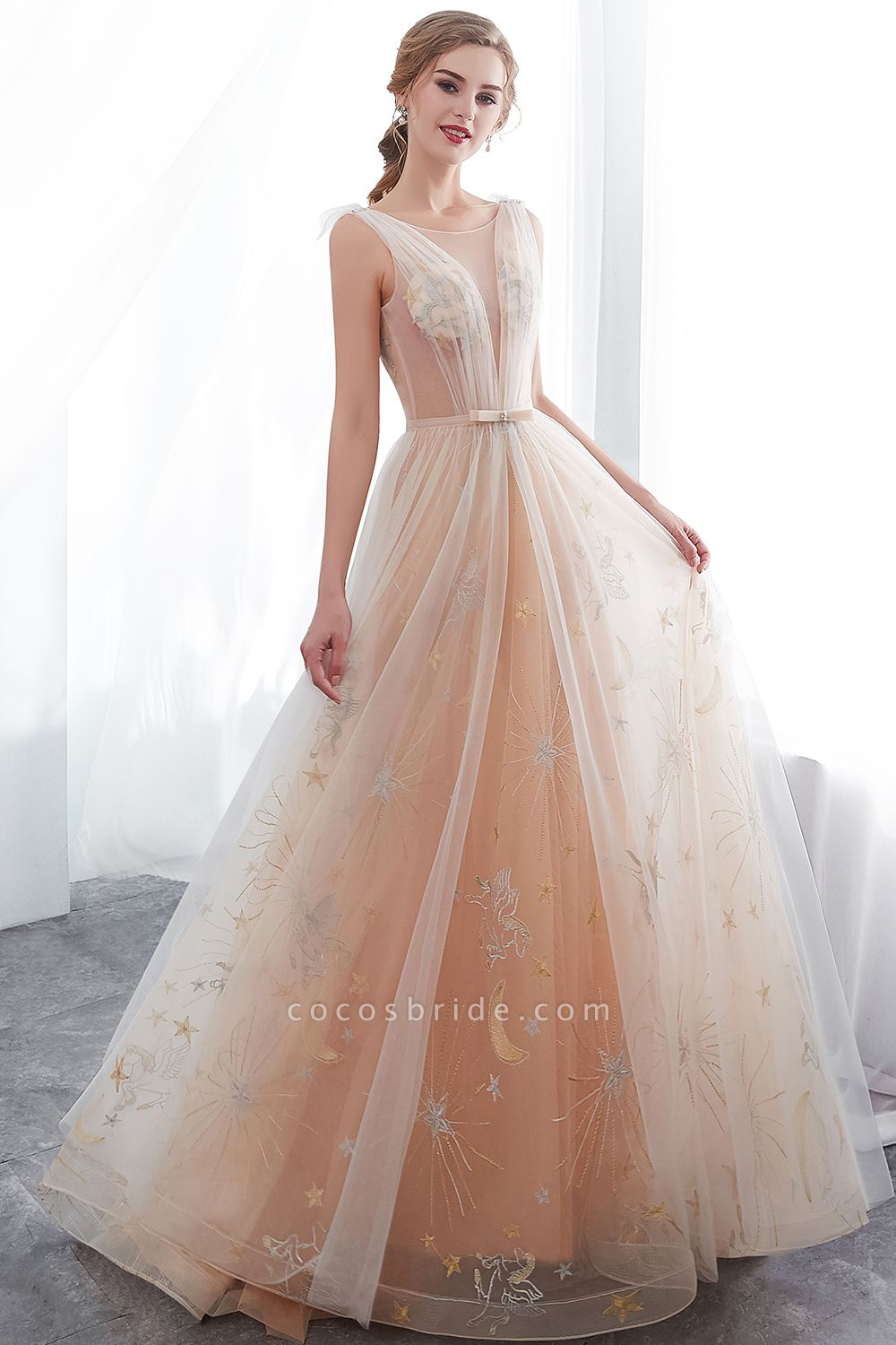 Champangne A-line Sleeveless Long Tulle Appliques Evening Dresses with Sash