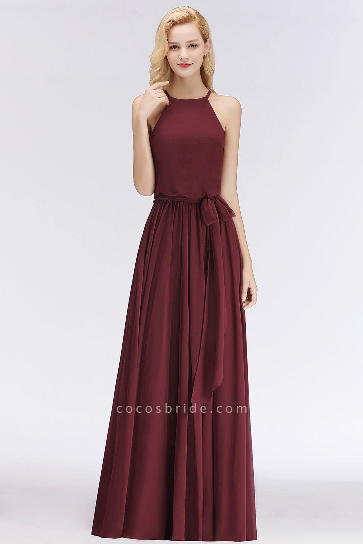 Burgundy Halter A-line Sleeveless Long Ruffles Chiffon Bridesmaid Dresses