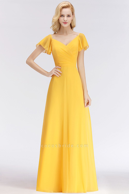 Chiffon A-line Long V-neck Short Sleeves Bridesmaid Dresses