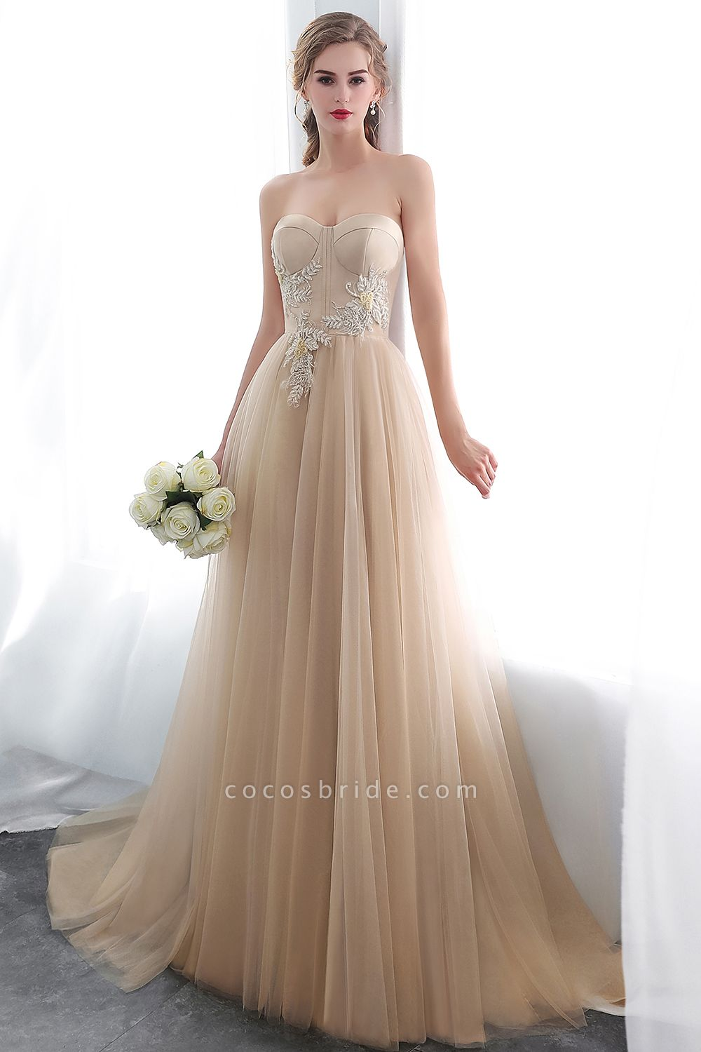 A-line Champagne Strapless Sweetheart Appliques Floor Length Evening Dresses