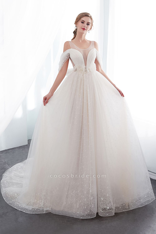 Lace A-line Sleeveless Floor Length Wedding Dresses