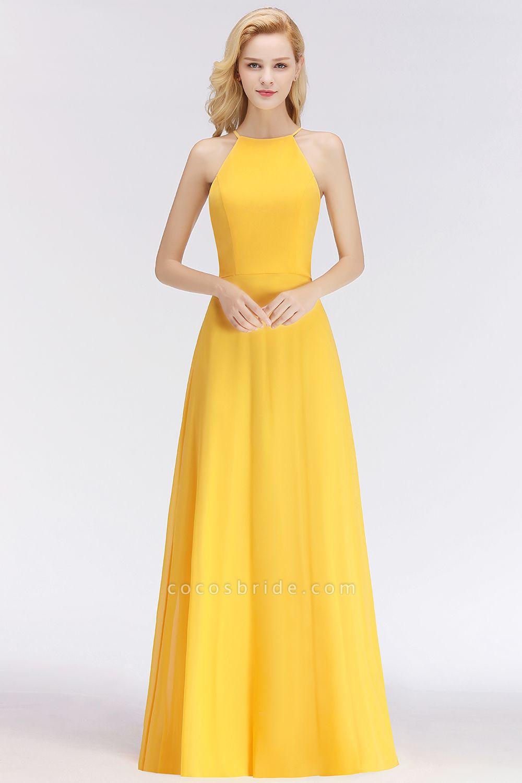 Yellow A-line Halter Sleeveless Floor Length Bridesmaid Dresses