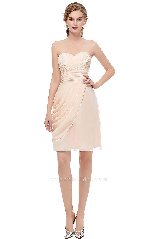 Sleek Sweetheart Chiffon Column Prom Dress