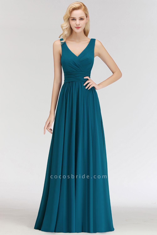 NORA | A-line V-neck Sleeveless Floor Length Ruffles Chiffon Bridesmaid Dresses