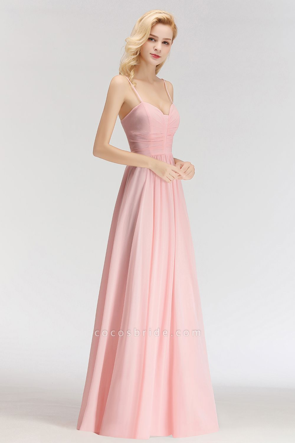 Spaghetti Straps A-line Long Sweetheart Sleeveless Bridesmaid Dresses