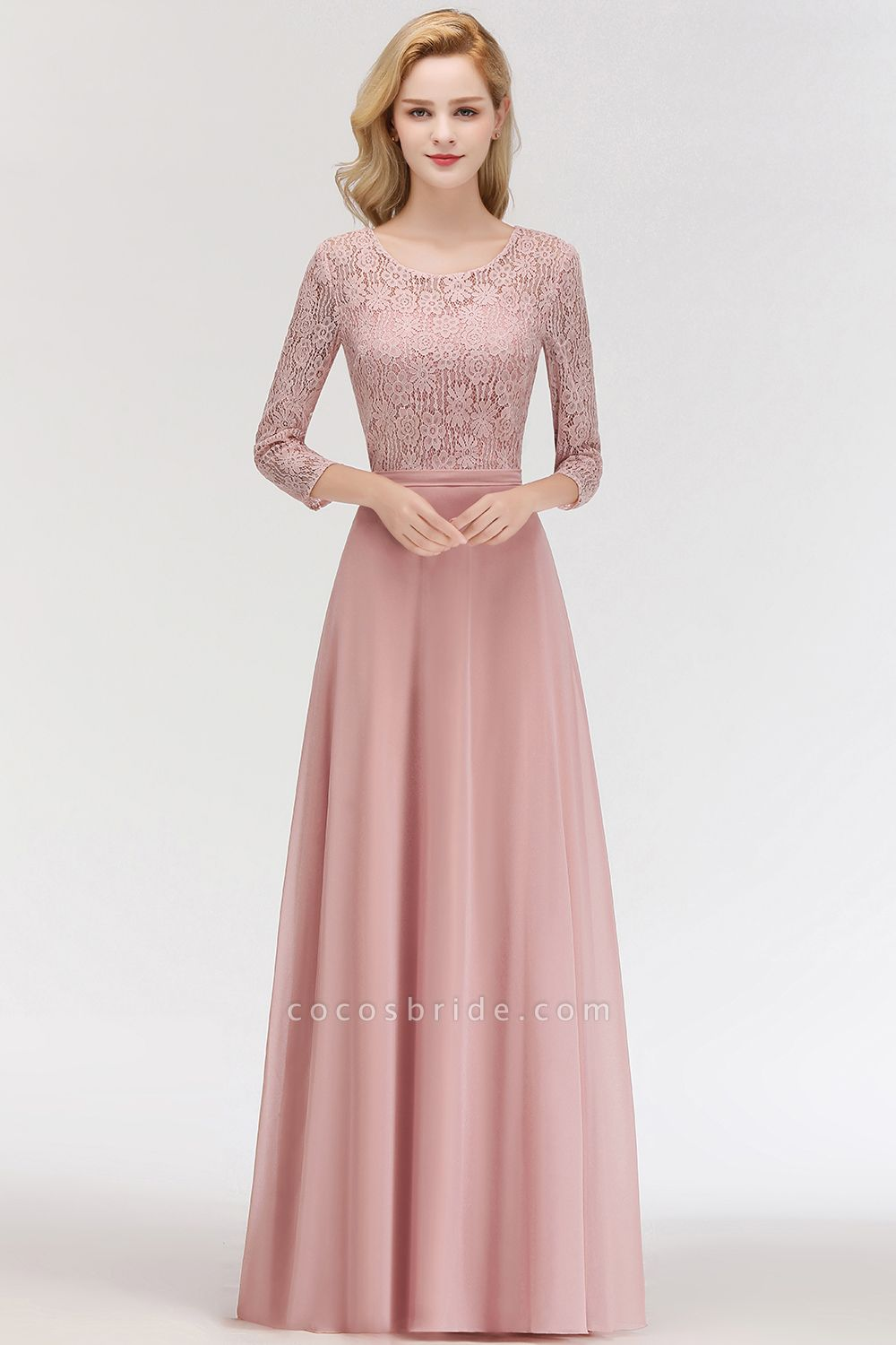 MARIAN | A-line Floor Length Lace Chiffon Bridesmaid Dresses with Sleeves
