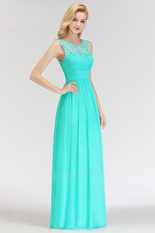 A-line Sleevless Long Lace Appliques Bridesmaid Dress