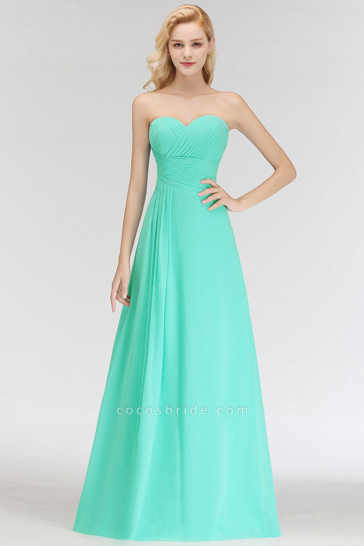 A-line Sweetheart Strapless Floor Length Ruffles Bridesmaid Dresses