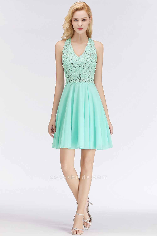 A-line V-neck Sleeveless Appliques Chiffon Short Homecoming Dresses