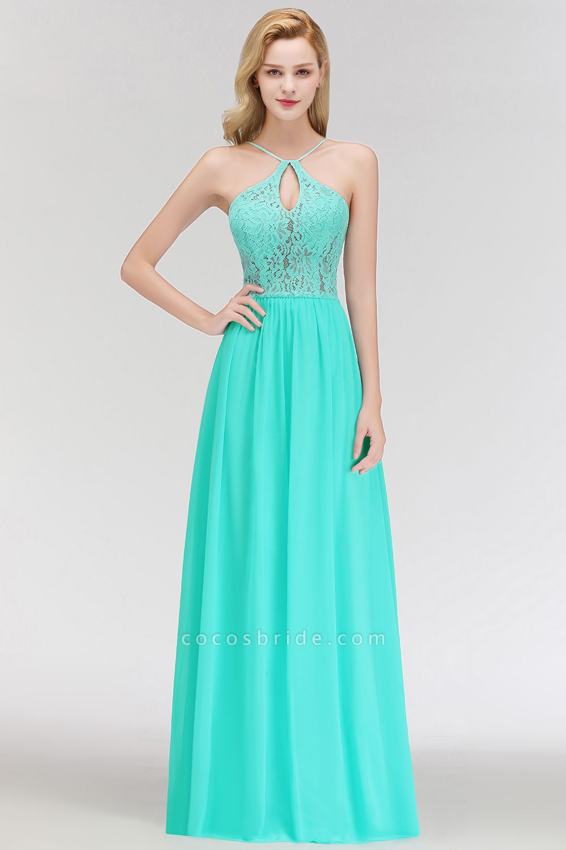 Keyhole Neckline Lace A-line Long Spaghetti Bridesmaid Dress