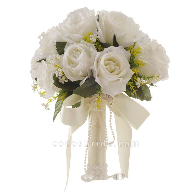 White Rose Artificial Wedding Bouquet with Handle