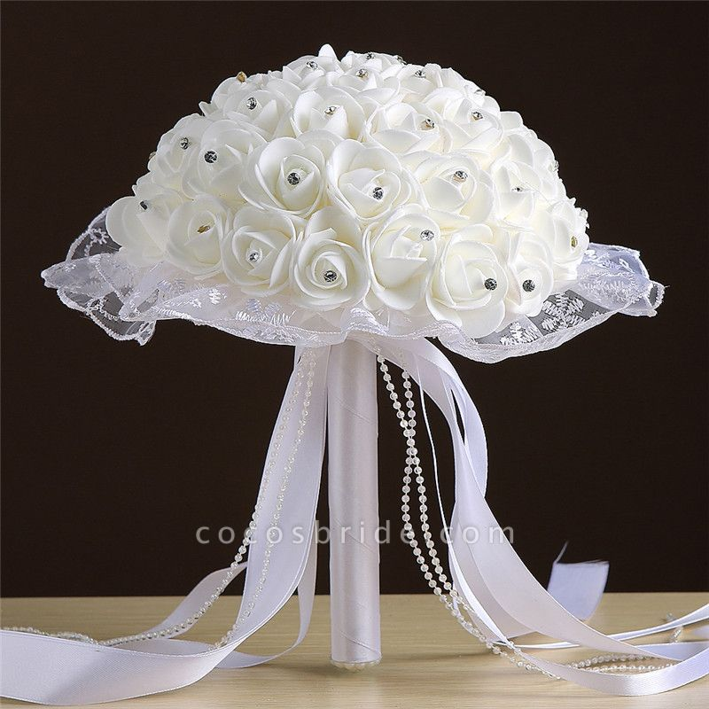 Grand Silky Rose Bouquet for Wedding in Multiple Colors