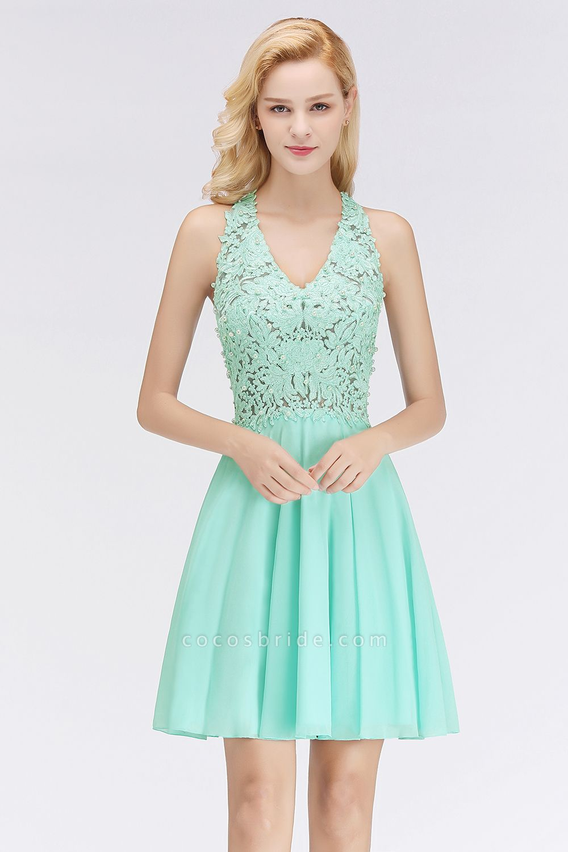BM0064 V-Neck Short Lace A-Line Sleeveless Bridesmaid Dress