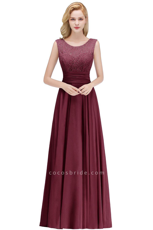 A-line Lace Top Floor Length Sleeveless Chiffon Bridesmaid Dress