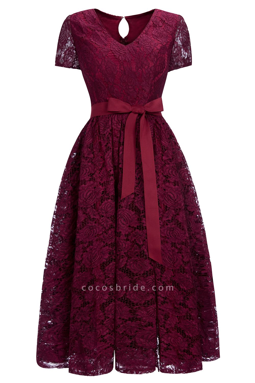 Burgundy Short Sleeves Flower Lace V-neck Dresses with Sash