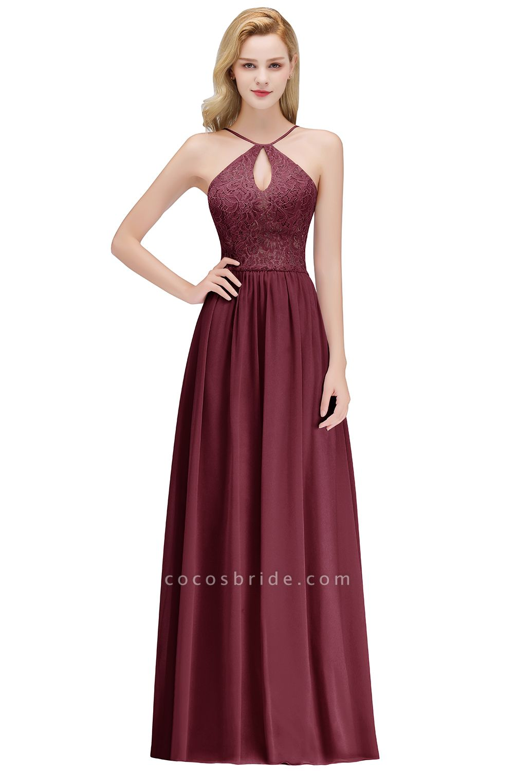 Keyhole Neckline Lace A-line Long Spaghetti Bridesmaid Dress