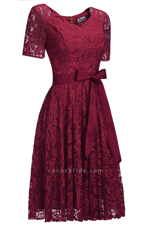 Elegant V-neck Short Sleeves Lace Dresses with Bow Sash