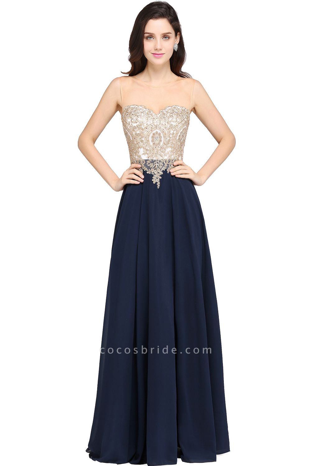 A-Line Chiffon Tulle Lace Scoop Sleeveless Floor-Length Bridesmaid Dress with Beadings