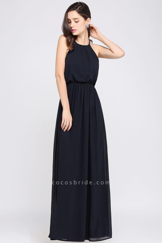 Simple A-Line Chiffon Halter Sleeveless Floor-Length Bridesmaid Dresses