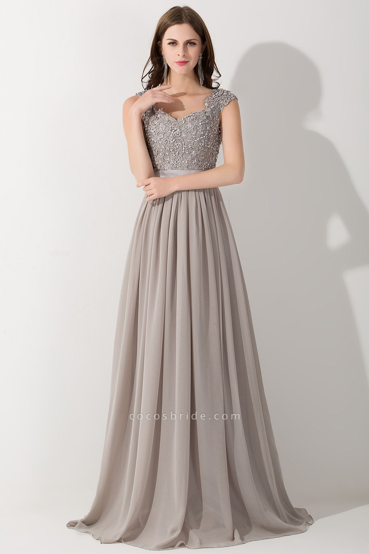 A-line Chiffon V-Neck Sleeveless Ruffles Floor-Length Bridesmaid Dress with Appliques